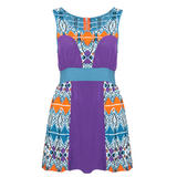 Tribal Print Colour Block Dress
